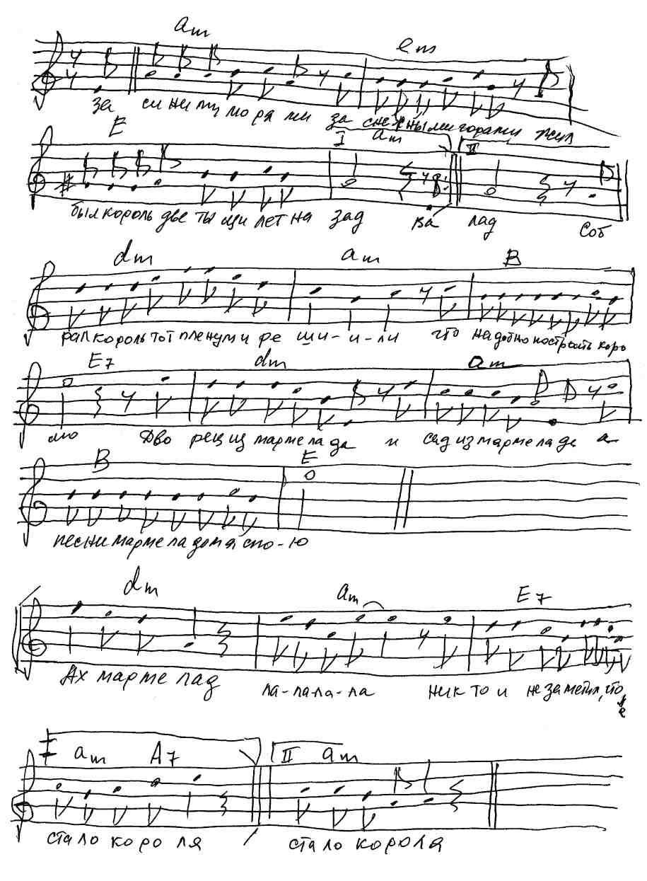 Ноты и аккорды к песне
